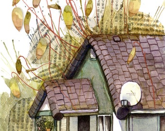 Original Watercolour Painting - Copper Wires/Moss Cottage