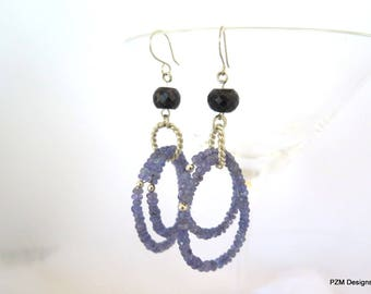 Tanzanite and Sapphire Earrings, Tanzanite Dangle Hoops with Sapphires, Gift for Her