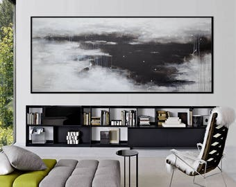 Extra Large Abstract Painting-original acrylic black white landscape square modern -timid showers- Elena