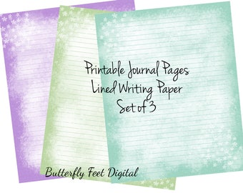 Printable Art Journal Pages, Lined Paper, Printable Stationery, Abstract Texture, Flowers, Instant Digital Download