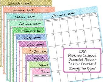 2018 Printable Calendar, Quatrefoil Art Design, Monthly Calendar, Instant Download, Letter Size, JPG 300 dpi