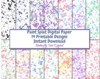 Paint Splat Digital Paper Pack, 14 Printable Designs, Printable Party Paper, Scrapbooking, Card Making, Instant Download