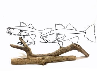 Double Walleye Fish Wire Sculpture, Fish Wire Art, Fish Minimal Sculpture, Walleye Fish Art, 578227405