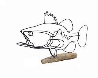 Bass Wire Sculpture, Fish Wire Art, Minimal Design Art, Wire Folk Art, 579006123