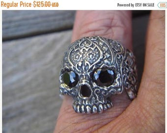 ON SALE Sugar skull ring in sterling silver with black cz's