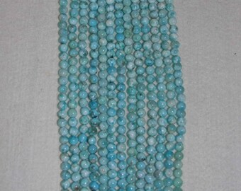 Larimar, Larimar Bead, 6mm, A+, Smooth Bead, Natural Stone, Semi Precious Bead, Gemstone Bead, Blue Bead, Half Strand, AdrianasBeads