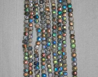Opal, AB Opal, AB Dendritic Opal, Dendritic Opal Cube, AB Opal Cube, Faceted Cube, Semi Precious, Gemstone, Full Strand, 7mm, AdrianasBeads