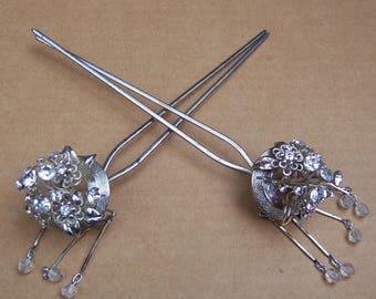Vintage Japanese Kanzashi hair pin Geisha flower rhinestone hair pick hair fork hair accessory hair ornament (AAN)