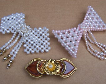 Three vintage 1980s hair barrettes hair slide hair clip hair ornament hair jewelry hair accessory (ZAK)