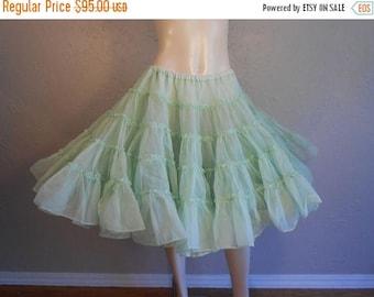 BI-ANNUAL SALE Minty McGavin - 1950s Mint Green Layered Crinoline Petticoat - Tons of Plouf