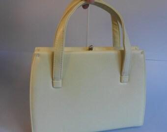 Anniversary Sale 35% Off Lilly Lemon Tree - Vintage 1950s Lemon Yellow Soft Padded Vinyl Faux Leather Handbag