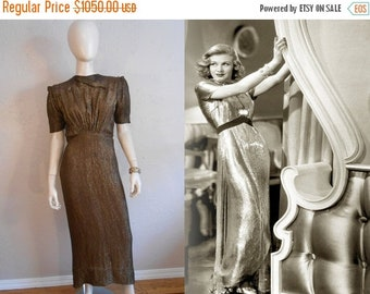 Anniversary Sale 35% Off Too Glamourous For Words - Vintage 1930s Milgrim Bronze Lamé Silk Rayon Dress w/Gathered Bodice - 2/4