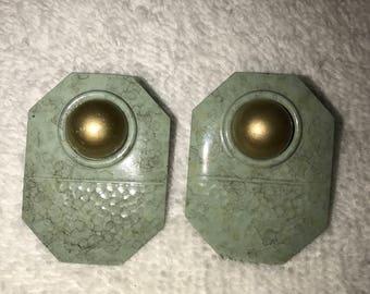 Enamel on Metal Gold Green Post  Pierced Earrings