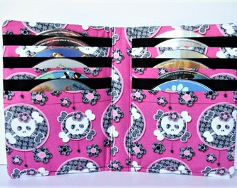 CD Case, DVD Case, Video Game Holder, Blu Ray, Disc Storage Book made with Girly Skulls Fabric, Best Selling Item, Hold's 12 Disc's