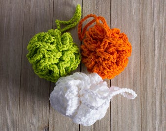 Loofah, 100% Cotton Bath Pouf, Small Bath Sponge, Eco Friendly Bath and Spa Accessory