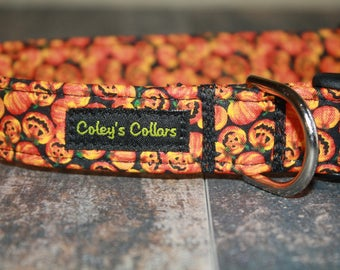 "Dog Collar Medium 1"" Ready to Ship Sale ""The Jack-O-Lantern"""