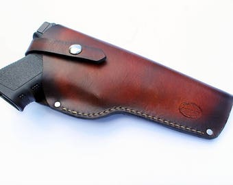 Leather Gun Holster, Can Be Personalized, Monogrammed, Attaches To Belt, Men's Gift