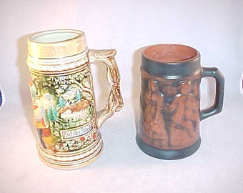 2 Ceramic Beer Steins Made in Japan and Portugal