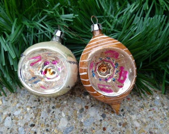 2 Vintage Christmas Ornaments glass antique Indent hand painted blown mercury glass glitter Old World decorating Supplies
