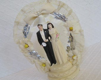 Vintage 1940s Wedding Cake Topper, Coast Novelty Co., As-Is