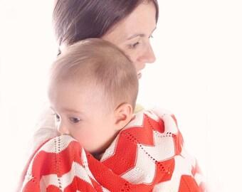 Baby Blanket - Organic Cotton Baby Blanket - Toddler Blanket - Stroller Blanket - Knit Baby Blanket - Newborn Blanket - Baby Shower Gift