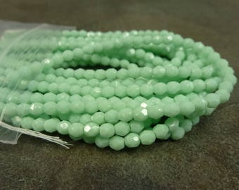 Opaque Pale Jade Czech Glass Firepolish Beads 4mm Faceted Round 50pc