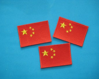 Clearance~ 3 pcs Iron-on embroidered Patch China flag 2.5 inch