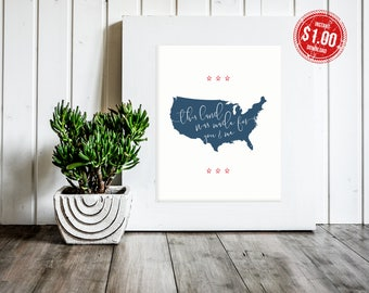Patriotic wall art, decor, wall decor, sign, holiday, 4th of July decoration, summer decoration: PRINTABLE (This Land was Made for You & Me)