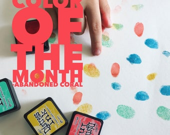 ON SALE, Color of the month, abandoned coral, dye based ink pad, Pads for Fingerprint Guest Book Tree, Rich Archival Color