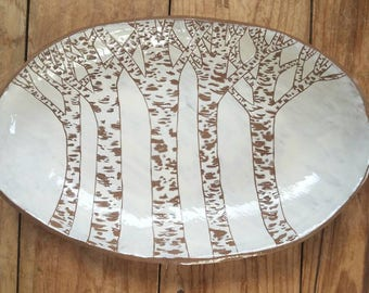 Birch Platter, Pottery Platter, Serving Dish