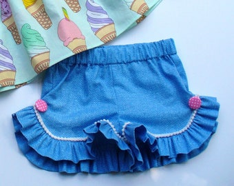 Girls Ruffle Shorts,Summer Shorts,Little Girls Shorts,Toddler Shorts,Blue,PomPoms,Toddler Shorts,Size 12MO,18MO,2T,3T,4T,5,6,7,8,9/10