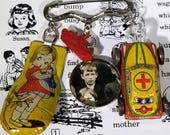 Tin Toy Jewelry-Assemblage Brooch-Assemblage Jewelry-Cracker Jacks-1930s-1940s--Original Jewelry, Original Brooch, Handmade Jewelry