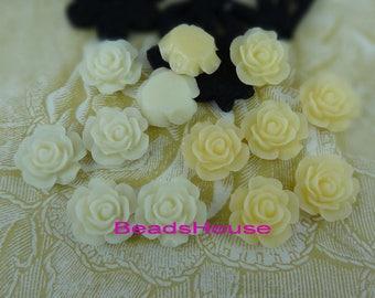 20%off 698-00-CA 8pcs(15mm)High Quality Rose Cabochon-Cream/Pale Ivory
