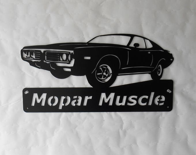 1973 Dodge Charger Personalized Man Cave Classic Garage Sign Satin Black Mopar