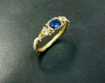 Unique and beautiful 14k gold White Enamel diamond and sapphire ring