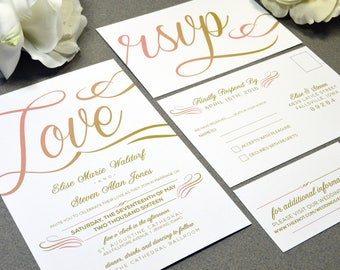 Love Script Wedding Invitations Gold and Coral Pocket Invites Calligraphy Wedding Invitation Suite Rustic Wedding Invite Set Modern Wedding