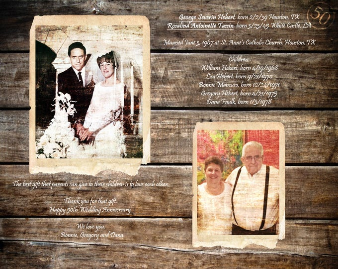 Parents 50th Anniversary Gift Golden Anniversary Gifts For Parents Parents Anniversary Gift 50 Years Of Marriage 50 Years Ago 16x20