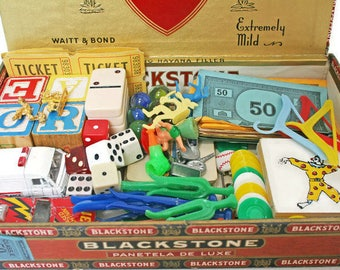 Vintage Toy and Game Parts  /  Supply Lot for Assemblage or Altered Art  /  Toy DIY Bundle  /  Inspiration Kit / Trinkets and Smalls