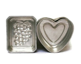 Vintage Tart Tins  /  For Baking or Crafting  (c.1960s) Small Tartlet Molds / Hearts and Grapes for Chocolate or Candle Making Supplies