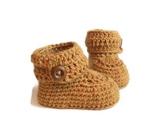 Short Button Cuff Baby Booties in Mustard Alpaca Wool