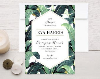 Tropical Plantation Banana Leaf Shower Invitations