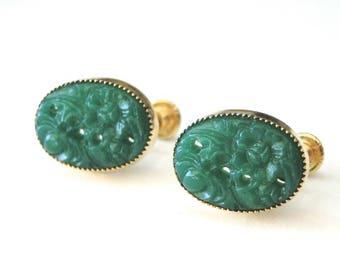 Jewelry / Earrings / Emerald Filigree Vintage Earrings / Screw Back Vintage Emerald Earrings / Accessories / Gift for Her / Wulfgirl