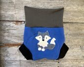 Upcycled Wool Soaker Cover Diaper Cover With Added Doubler Blue/ Black/ Brown With A Wolf Applique LARGE 12-24M Kidsgogreen