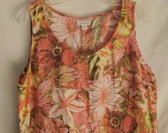 Floral Linen Sundress Pink & Orange Sleeveless Large Summer Dress Linen Tank Dress Resort Wear Sheath Shift