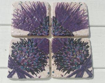 Large Scottish Thistle Coaster Set of 4 Tea Coffee Beer Coasters