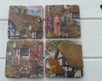 Country Cottage Garden Stone Coaster Set of 4 Tea Coffee Beer Coasters
