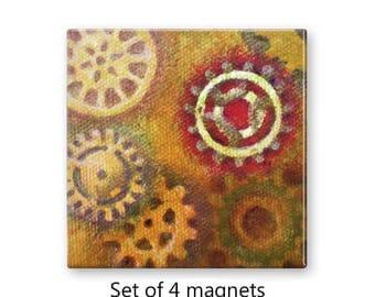 Steampunk magnets, art magnets, gears magnets, set of 4 decorative magnets,  fridge magnet set, refrigerator magnets, large magnets