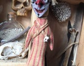 Original Art OOAK Circus Clown Voodoo Doll Spiritual Hoodoo Fetish For Macabre Curiosity Cabinet or Magic Witch Poppet Freak Show Carnival