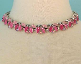 Signed Star Mid-Century Choker Necklace, Rhinestone Jewelry, Vintage Jewelry, Enamel & Rhinestone Vintage Necklace, Aurora Borealis Choker