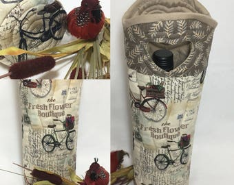 Vintage Bicycle and Postcards Wine Bag Wine Tote Bag Flower Boutique Hostess Gift Swap Gift Wine Lover Gift Gift Under 25